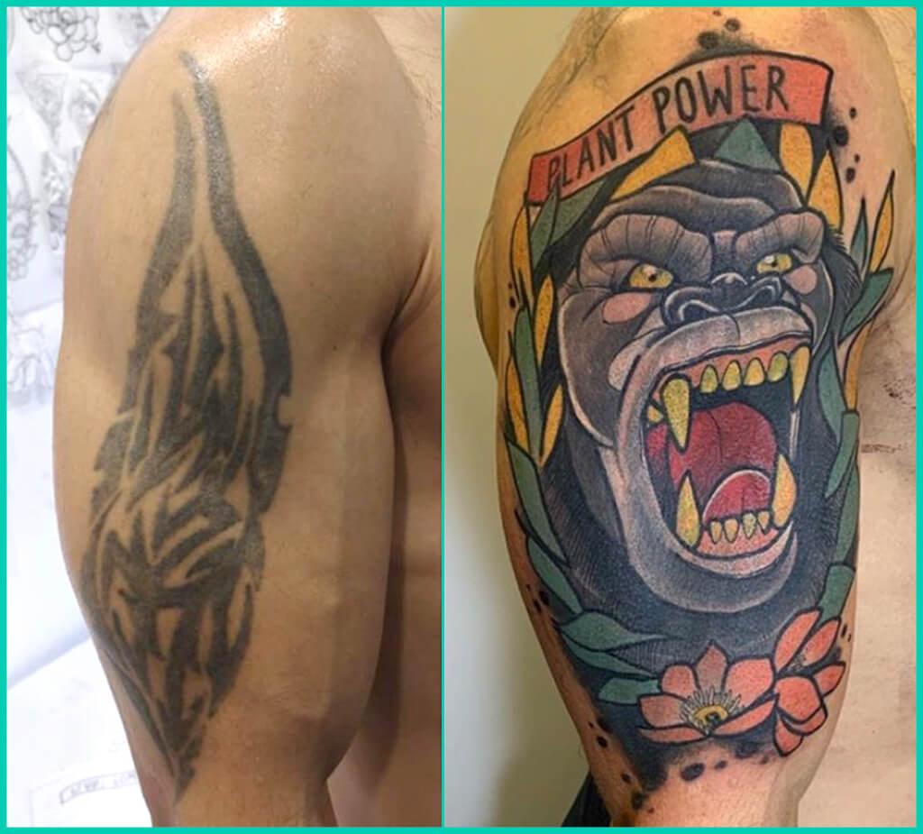 tapado de tatuaje brazo